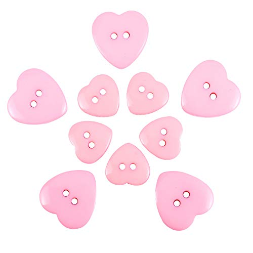 (Pomeat 100Pcs Pink Heart Buttons 2 Hole, Resin Heart Shaped Buttons for Crafts Sewing Scrapbooking Knitting - 15,20mm)