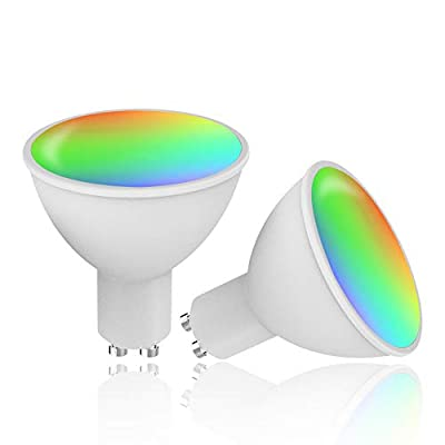 GU10 Led Bulbs Dimmable RGB Color Changing Light Bulbs 4W Tunable White 2700-6500K 320 LM,Smart Light Bulbs Work with Alexa Google Assistant