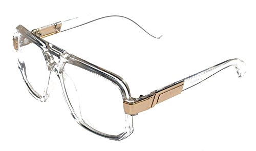 Gazelle Swag Square Oversized Sunglasses w/ Clear Lenses (Clear & Gold, - Frame Gazelle