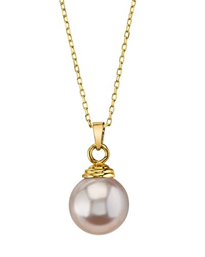 THE PEARL SOURCE 14K Gold 8-9mm Round Pink Freshwater Cultured Pearl Hope Pendant Necklace for Women ()