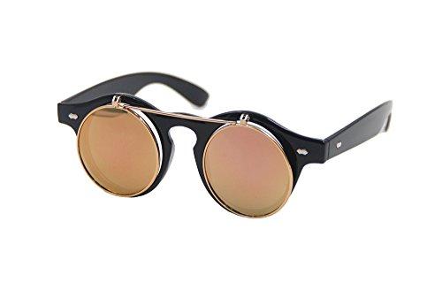 Sunglasses Men's Ladies Flip Up Lens U400 Protection Vintage Classic Steampunk Look