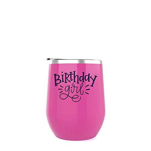 Birthday Girl   Happy Birthday Goblet   12 oz Pink stemless Stainless Steel Novelty Wine Tumbler Insulated Cup with Lid for Coffee   Best Gift for Birthday, 30th Birthday, 40th, 50th, 21st Birthday