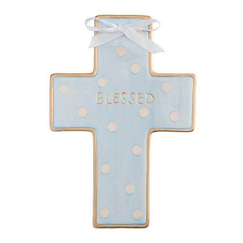 Elegant Baby Ceramic Cross, Blue