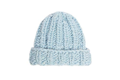 Hand Knit Extra Fine New Zealand Merino Wool Boho Beanie Hat Blue ()