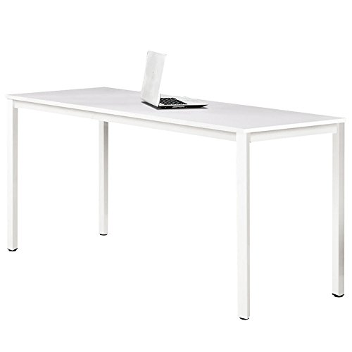 Dland 47'' Medium Computer Desk, Composite Wood Board, Decent & Steady Home Office Desk/ Workstation/ Table, BS1-120WW White & White Legs, 1 Pack by Dland