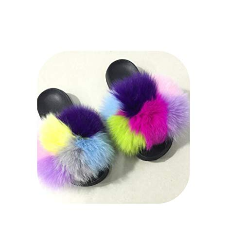 April With You Summer Women Fur Slippers Fur Slides Home Furry Flat Sandal Cute Fluffy flip Flops,Blue Square,11.5 -