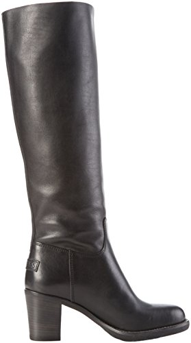 Shabbies Amsterdam Damen 42cm High Boot 6cm Heel Rubber Matching Sole Langschaft Stiefel Schwarz (Black)