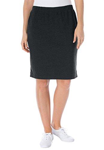 Women's Plus Size Stretch Cotton Skort Heather Charcoal,2X