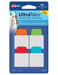 Avery-Dennison 74760 Ultra Tabs Repositionable Tabs44; Blue44; Green44; Orange & Red - 1 x 1.5 in. AZTY01729