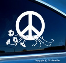 (PEACE decal sign symbol Car Window Sticker - LARGE size 7