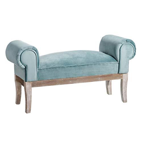 D,casa - Banqueta pie de Cama tapizada de Terciopelo y de Madera clasica Azul de 104x30x54 cm