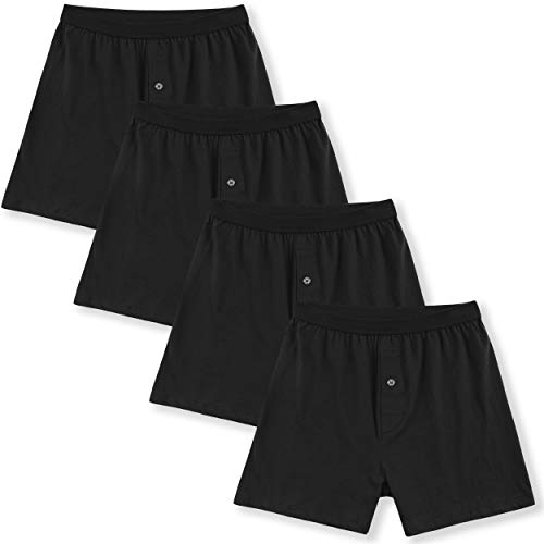 (Innersy Men's 4 Pack Ultimate Soft Stretchy All Cotton Knit Boxers (M, 4 Black))
