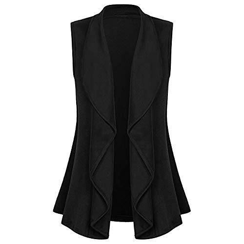 Orangeskycn Womens Casual Sleeveless Cape Shawl Ruffles Draped Open Front Cardigan Vest (Cream Blazer Silk)