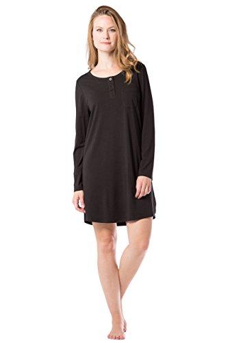 Fishers Finery Women's Henley Nightshirt; Long Sleeve; Above Knee (Black, L)