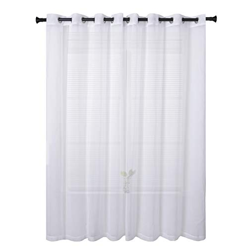 Glamour Curtain Panel - SUO AI TEXTILE Wide Width Sheer Curtains Linen Look Curtain Grommet for Living Room White Grommet Curtain Panels 100×95 Inch One Panel