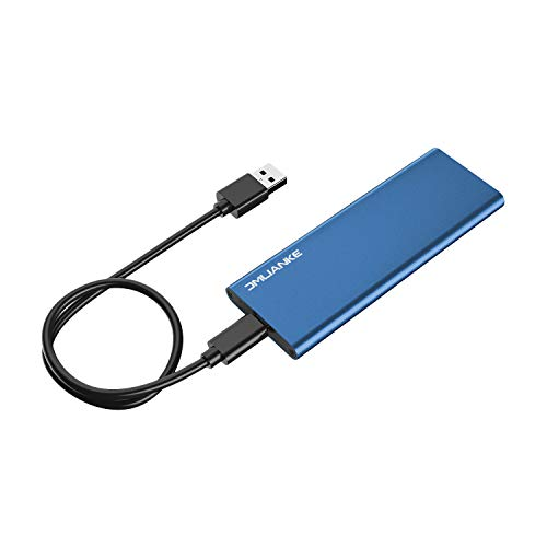 Aluminum M.2 NGFF to USB 3.1 Type-C M.2 SSD Enclosure Portable External Case for Solid State Drive (Blue)