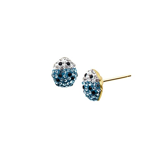 Crystaluxe Girl's Ladybug Stud Earrings with Sky Blue Swarovski Crystals in 14K Gold-Plated Sterling Silver