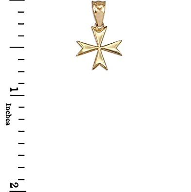 10K Yellow Gold Tiny Maltese Cross Charm Necklace