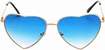 نظارة شمسية للنساء بإطار معدني على شكل قلب بدون إطار مرآة وبعدسات كيوبيد على شكل قلب