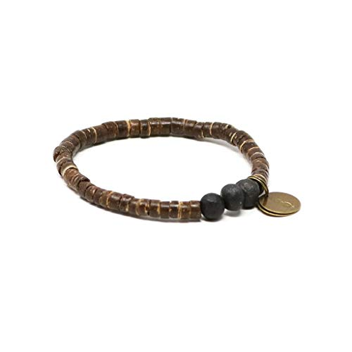 Bracelet Shell Coconut Stretch (Handmade in Haiti Fire Pit Black Coconut Pipeline Bracelet Made with Real Coconut Shell Pieces Clean Water for Haitians Fashion for A Cause)