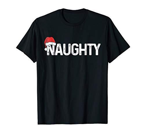 Naughty or Nice Shirt Matching Christmas Couples Costume Tee -