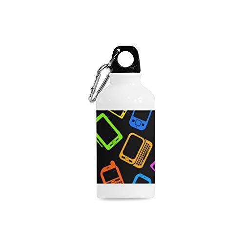 (WJJSXKA Outdoor Simple Fashion Travel Vintage Mobile Phone Retro Print Design Sport Water Bottle Aluminum Stainless Steel Bottle Aluminum Sport Water Bottle)