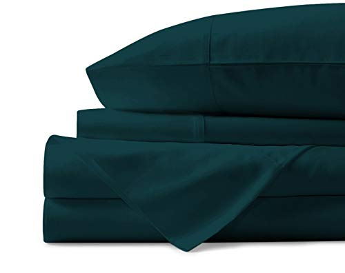 - Mayfair Linen 100% Egyptian Cotton Sheets, Teal Queen Sheets Set, 600 Thread Count Long Staple Cotton, Sateen Weave for Soft and Silky Feel, Fits Mattress Upto 18'' DEEP Pocket