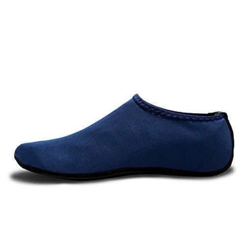 CIOR 3. Verbesserte Version Durable Sohle Barfuß Wasser Haut Schuhe Aqua Socken für Beach Pool Sand Schwimmen Surf Yoga Wassergymnastik 03navy