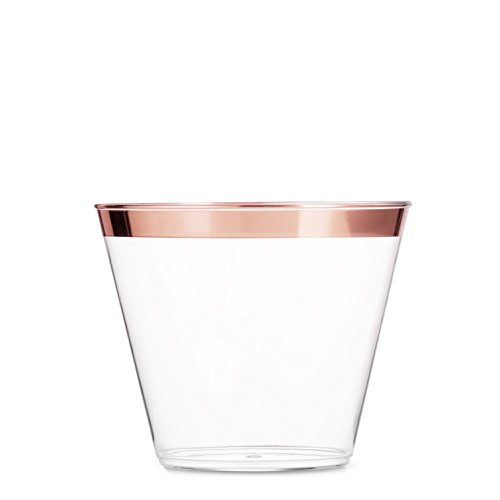 100 Rose Gold Plastic Cups ~ 9 Oz Clear Plastic Cups Old Fashioned Tumblers ~ Rose Gold Rimmed Cups Fancy Disposable Wedding Cups ~ Elegant Party Cups with Rose Gold -