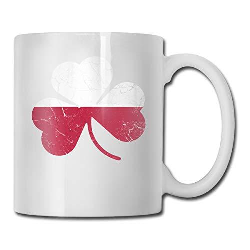 CLLXMUG Vintage Irish Flag of Poland Shamrock Heritage Custom Coffee Cup / 11oz Ceramic Tea Cup - Novelty Gift