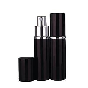 Garrelett 3 Pcs Mini Refillable Perfume Atomizer Bottle Refillable Empty Container for Travel Spray Scent Pump Case 10ml .41oz (Black)