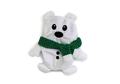 Fetch Pet Products Christmas Squeaky Dog Toy- Interactive Inside-Out Hide and Seek Puzzle Plush - Hides Treats Hatchables Ornament (Polar Bear)