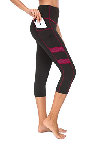 Zinmore Women's High Waist Yoga Pants Exercise Pants Gym Active Tights Workout Leggings Yoga Capris Leggings (Small, Black-Rose)