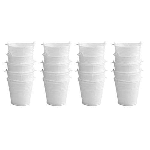 Candy Buckets, Peleustech 20Pcs 2.42.21.6 Inch Mini Cute Wedding Party Candy Buckets Pails - White (White Mini Pails)
