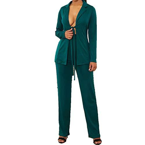 Women's Blazer Suits Long Sleeve Blazers with Long Pants Suiting Blazers Jacket Uniform Dark Green Small