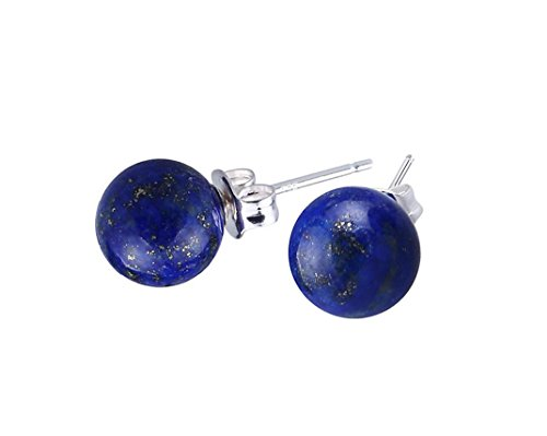 Elensan 6mm Blue Lapis Lazuli Ball Stud Earrings with Sterling Silver for Woman