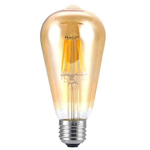 LED Edison Light Bulb 6W 2300K Warm White Vintage Style Bulbs, ST64, Edison Light Bulbs, Vintage Bulbs LED, 60W Equivalent (6W-Amber-2300K)