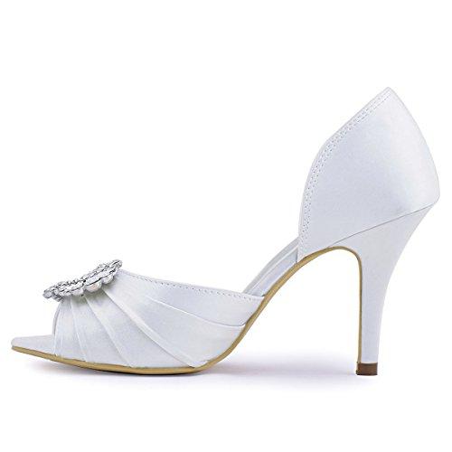 ElegantPark A2136 Mujer Peep Toe Aguja Rhinestones Plisado Satin Boda De Zapatos De Novia Blanco