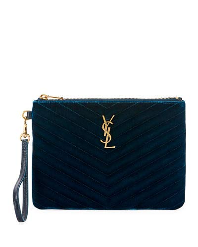 Saint Laurent Master Small Velvet Monogram YSL Wristlet Pouch Wallet (Dark Blue)