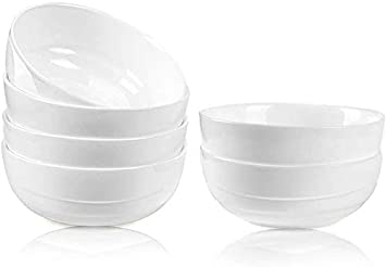 Danmers 18 Ounces White Bowl Set Cereal Soup Salad Bowls Service For 6 Lightweight Bowl 5 5 Gift Pack Kitchen Dining