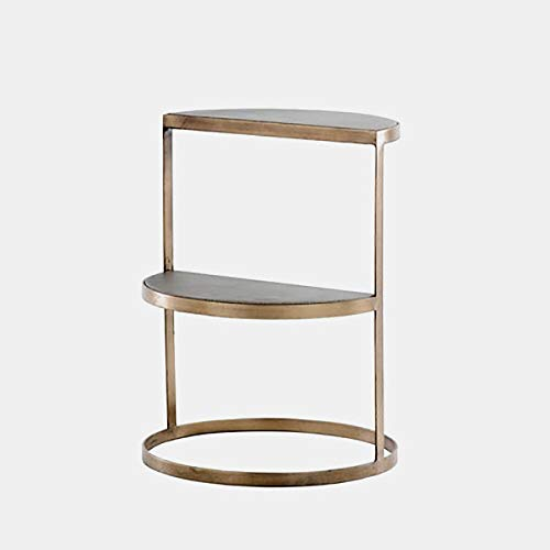 Steel Base End Table with Shelf - End Table with Semi-Circle Concrete Top - Antique Brass