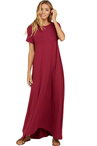 Annabelle Women's Short Sleeve Round Neck Uneven Hem Full Length Dresss with Pockets Berry Small D5418