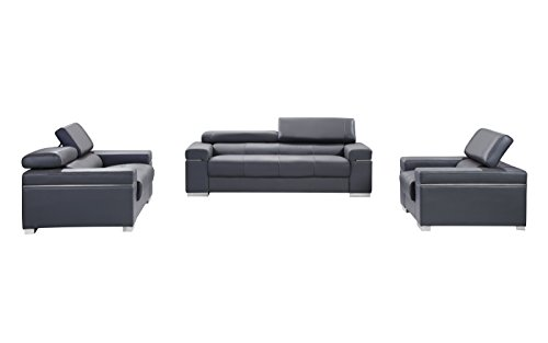(J and M Furniture 176551113-LS-GR Soho Loveseat in Grey Leather)