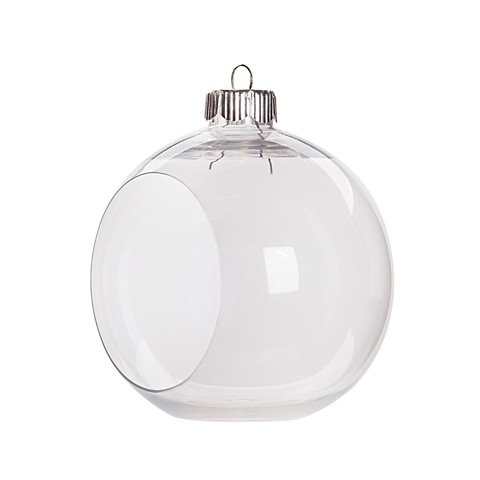 Creative Hobbies Clear Plastic Ornament Balls, Open Front with Flat Bottom, Great for Terrariums, 3.25 Inch (83 mm), Box of 12 Pieces (Clear Ornament Ball)