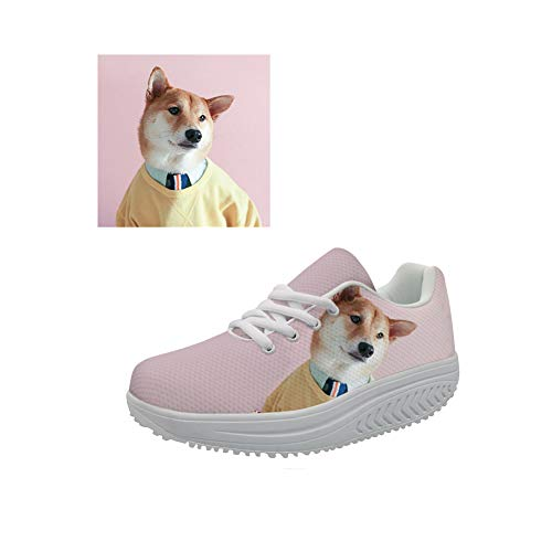 FOR U DESIGNS Customize Women Wedges Swing Shoes Mesh Walking Fitness Breathable Sneaker US 8