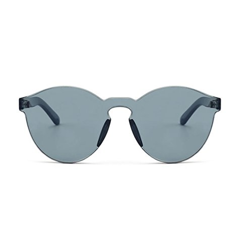 Armear Women Men Oversized One Piece Clear Lens Rimless Tinted Sunglasses 58mm (Gray, - Frames 1970 Glasses