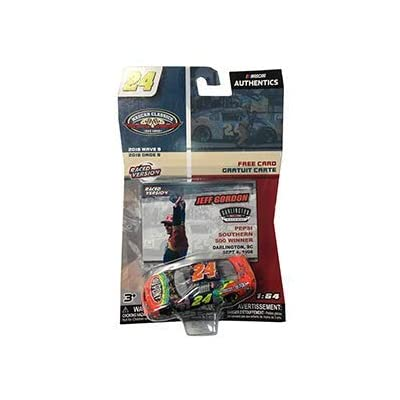 NASCAR Authentics Jeff Gordon #24 Diecast Car 1/64 Scale - 2020 Wave 9 with Collector Card - NASCAR Classics - Collectible: Toys & Games