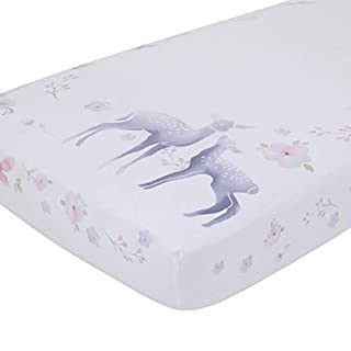 NoJo Watercolor Deer 100% Cotton Sateen Photo Op Fitted Crib Sheet, Pink/Grey/White/Blue