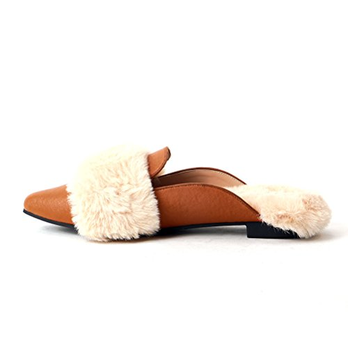 Woolen TONGPU Mule Toes Camel Womens Shoes Shoes Women Pointed For Flat anrw5ZqrY