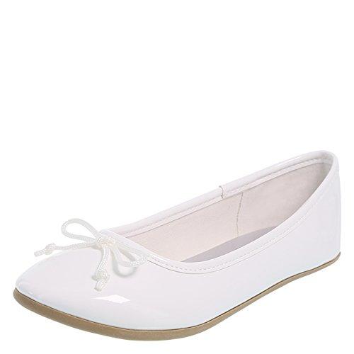 Youth White Patent Footwear - Zoe and Zac White Patent Girls' FAE String Tie Flat 4.5 Regular